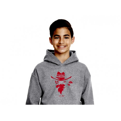 G18500B Heather Grey Youth Iredell United Bandits Hoodie
