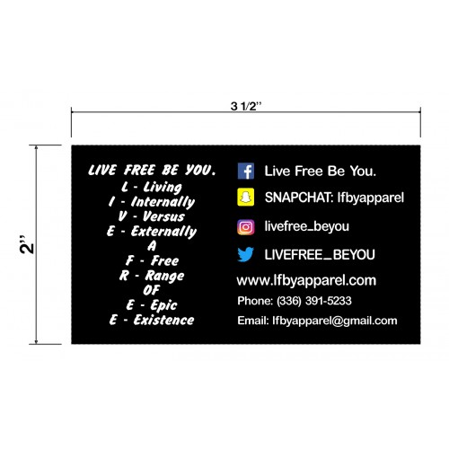 Live Free Be You Biz Cards Front