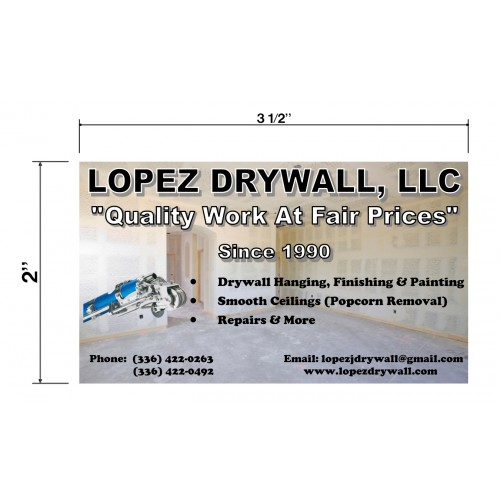 Lopez Drywall Biz Cards Front