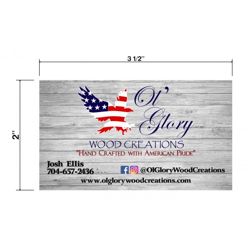 Ol' Glory Wood Creations Biz Cards Front